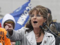 Former Alaska governor Sarah Palin attends a Tea Party rally held by Americans for Prosperity at the Wisconsin State Capitol.
