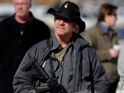 In Helena, Mont.: Vince Vaccaro at a gun-rights rally.
