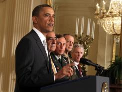 President Obama announces the new members of his national security team on Thursday. From left: Leon Panetta as secretary of Defense, Gen. David Petraeus as CIA director, Lt. Gen. John Allen as commander for U.S. forces in Afghanistan and Ryan Crocker as U.S. ambassador to Afghanistan.
