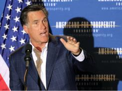 Former Republican governor Mitt Romney of Massachusetts, a possible 2012 presidental candidate,  speaks during a dinner sponsored by Americans for Prosperity on Friday in Manchester , N.H.