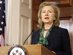 Secretary of State Hillary Rodham Clinton makes a statement regarding the death of Osama bin Laden on Monday.