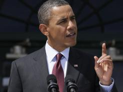 "President Obama, speaking Wednesday at the White House, said of the photos, ""We don't trot out this stuff as trophies."""