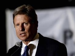 Presidential hopeful former New Mexico governor  Gary Johnson speaks to a crowd of Tea Party supporters at the Hyatt Regency on Thursday in Greenville, S.C.