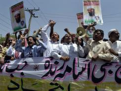 Protest: Pakistani demonstrators on Wednesday against the killing of Osama bin Laden.