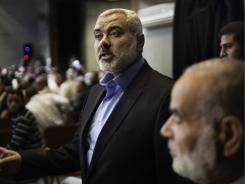 Ismail Haniya, the head of the Hamas government in the Gaza Strip, arrives at the venue in Gaza City where he gave a public address on Thursday.