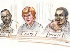 In this artist's rendering, Judges Andre Davis, left, Diana Gribbon Motz and James Wynn heard arguments about the health care law.