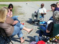 Activists gather Tuesday in front of the Mississippi State Penitentiary in Parchman, Miss., to protest the execution of convicted killer Benny Joe Stevens.