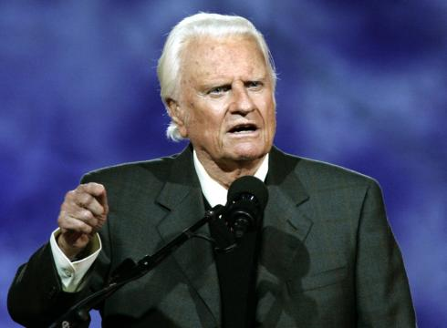 billy graham crusade. Billy Graham delivers his