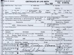 A copy of the long form version of President Obama's birth certificate from Hawaii.
