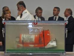One of the two flight recorders of the Air France Flight 447, which crashed in 2009, is displayed at the French investigators' headquarters in Le Bourget, near Paris, last Thursday.