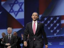 President Obama arrives to speak at the American Israel Public Affairs Committee (AIPAC) convention in Washington on Sunday.