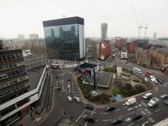 "The Old Street roundabout in Shoreditch, London, has been dubbed ""Silicon Roundabout"" due to the number of tech companies in the area."