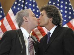 Pro gay-marriage: Jon Cooper, lawmaker of Huntington, N.Y., left, and his partner Robert Cooper last month in Washington.
