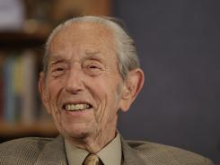 Harold Camping speaks during a taping of his show in Oakland, Calif., on Monday.