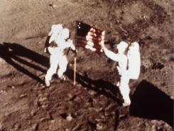 July 20, 1969: Astronauts Neil Armstrong and &quot;Buzz&quot; Aldrin, the first men to land on the moon.
