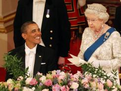 Britain's Queen Elizabeth II speaks during a state banquet for President Obama in Buckingham Palace on Tuesday.