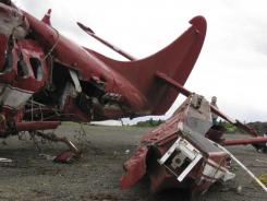 This image released in a report by the NTSB shows wreckage of the plane crash that killed former senator Ted Stevens.