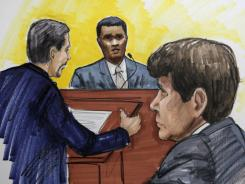 This courtroom sketch shows defense attorney Aaron Goldstein, left, questioning Rep. Jesse Jackson Jr., center, in the federal corruption trial of former Illinois Gov. Rod Blagojevich, right.
