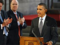 President Obama addresses the members of both houses of the British Parliament in Westminster Hall in London on Wednesday.