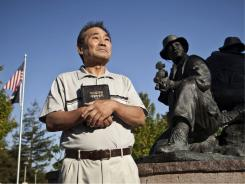 Solomon Suh, 72, regularly visits the Cupertino Memorial Park and a statue depicting his son, James, who was killed during combat operations in Afghanistan in 2005.