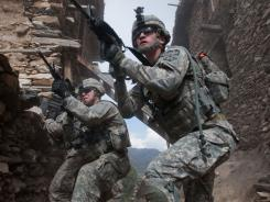 Ready for war: U.S. soldiers remain ready for unexpected enemy fire.
