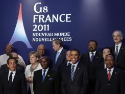 Leaders at the G-8 summit, bottom row, from left, French President Nicolas Sarkozy, Senegal's President Abdoulaye Wade, President Obama and Niger President Mahamadou Issoufou in Deauville, France, on Friday.