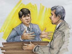 Ex-Illinois governor Rod Blagojevich is questioned by defense attorney Aaron  Goldstein in his second corruption trial Thursday in Chicago.