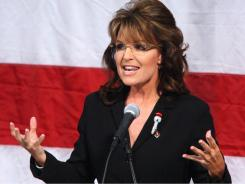 Sarah Palin, the former GOP vice presidential candidate and Alaska governor, presents her keynote speech during the grand opening of the Golden Eagle Arena at West Hills College Lemoore in Lemoore, Calif.