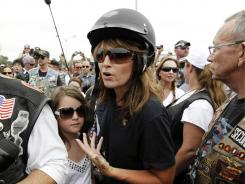 Sarah Palin answers questions before the Rolling Thunder Memorial Day weekend event.