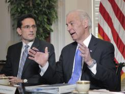 Vice President Biden speaks during a meeting on the budget on May 5 at Blair House in Washington. At his side is House Majority Leader Eric Cantor, R-Va.