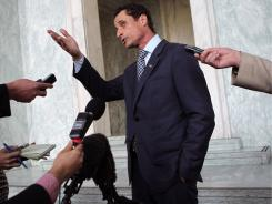 Rep. Anthony Weiner, D-N.Y., speaks Tuesday to reporters on Capitol Hill.