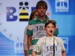 Sunny Levine competes in round 2 of the 2010 Scripps National Spelling Bee across the river from Washington, D.C., on Thursday.