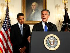 Republican Utah Governor Jon Huntsman speaks after President Obama nominated him in 2009 as  U.S. ambassador to China.