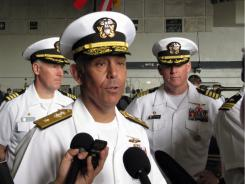Rear Adm. Samuel Perez, commander of the carrier strike group that includes the USS Carl Vinson aircraft carrier, talks to reporters in Pearl Harbor, Hawaii on Tuesday, June 7.