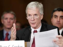 Ryan Crocker, President Obama's choice to become ambassador to Afghanistan, appears before a Senate panel Wednesday.