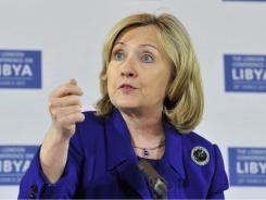 In a speech to diplomats at the African Union headquarters in Addis Ababa, Ethiopia, Hillary Clinton said Africa should join most of the rest of the world in abandoning Gadhafi.