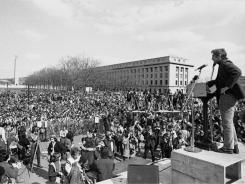 Daniel Ellsberg, chief defendant in the Pentagon Papers case, addresses a crowd at the State Capitol in Harrisburg, Pa., following an anti-war parade that ended at the Capitol on April 1, 1972.