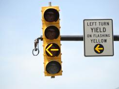 States are increasingly installing yellow flashing left turn signals at busy intersections.