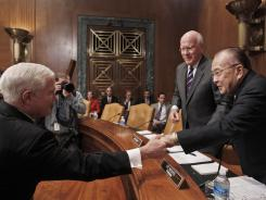 Secretary of Defense Robert Gates, left, greets Senate Appropriations Committee Chairman Daniel Inouye, D-Hawaii, before he testifies Wednesday.
