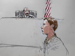 Colton Harris-Moore in a courtroom sketch as he appears before Judge Richard Jones in federal court.