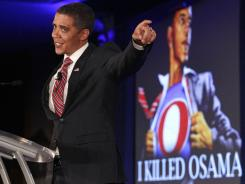 President Barack Obama impersonator Reggie Brown performs at the Republican Leadership Conference in New Orleans on Saturday.