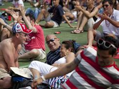 Supporters gather for the annual NYC LGBT Pride Rally in Central Park's Rumsey Playfield on Saturday in New York City.