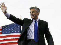 Jon Huntsman arrives Tuesday at Liberty State Park in Jersey City, where he announced his candidacy for president.