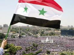A Syrian protester waves a national flag as others rally in support of Syrian President Bashar Assad in Damascus.