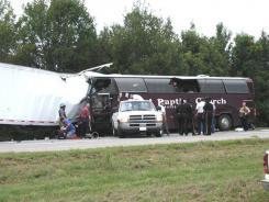 A bus from First Baptist Church of Eldorado, Texas, and an 18-wheeler collided in Louisiana.