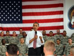 President Obama speaks to troops Thursday at Fort Drum in New York. Obama plans to withdraw 10,000 U.S. troops from Afghanistan this year.