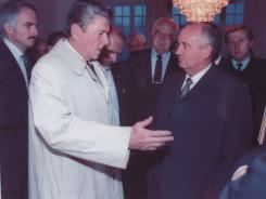 President Reagan and Soviet leader Mikhail Gorbachev meet in Reykjavik, Iceland, in October 1986.