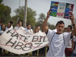 David Barrera, 16, an undocumented immigrant, joins students protesting the bill last month in Douglas County, Ga.