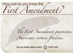 Take the quiz by clicking on the First Amendment quiz interactive below the Google ad.