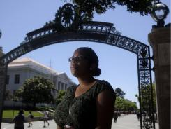 University of California Berkeley student Dior Sweeney poses for a photograph Friday on the campus in Berkeley, Calif.